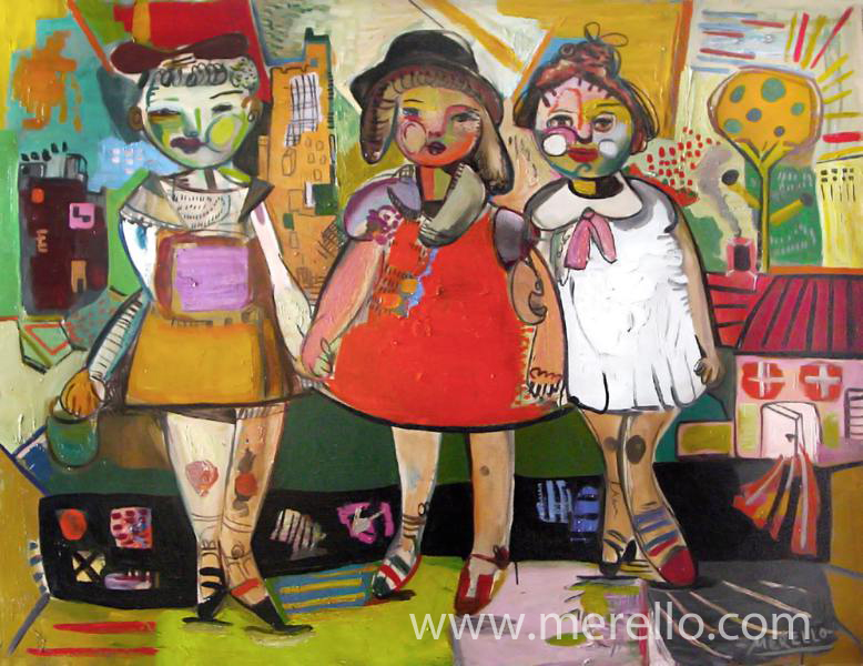 merello. Las Tres Amigas (114x146cm).MODERN ART. MODERN PAINTING. CONTEMPORARY ART and ARTISTS. INVESTMENT.